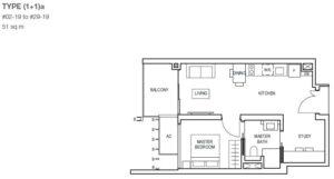 midwood-condo-floor-plan-1-bedroom+study-type(1+1)a