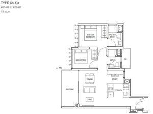 midwood-condo-floor-plan-2-bedroom+study-type(2+1)a